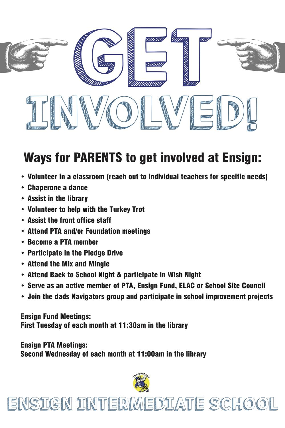 Ways to get involved as a parent flyer