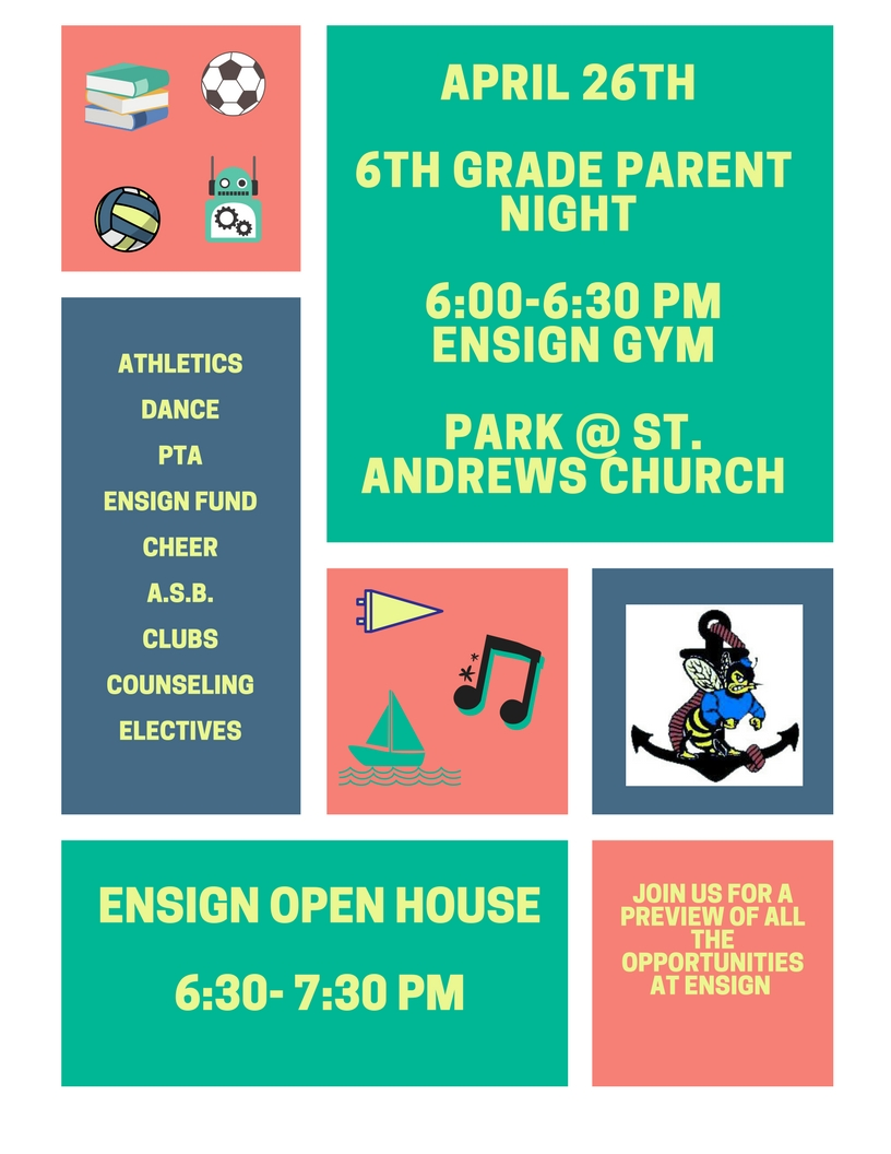 The image is a link to the information about 6th Grade Parent Night and Ensign Open House
