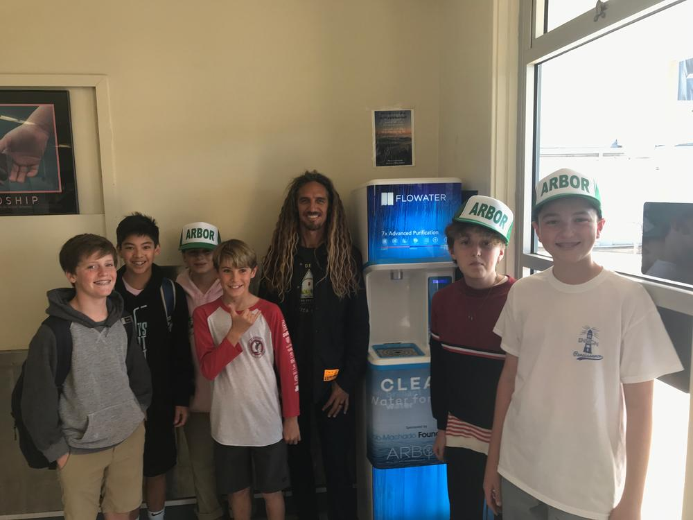 Rob Machado and Ensign students at our new water station